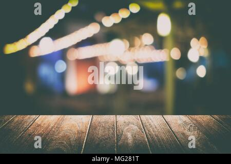 Empty Table with Blurred Bokeh Restaurant Background. Suitable for Product Display. - Stock Image