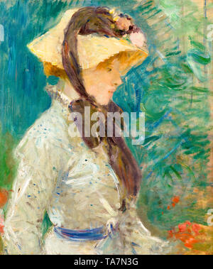 Berthe Morisot, Young Woman with a Straw Hat, portrait painting, 1884 - Stock Image