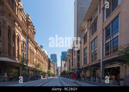 Jan 12, 2019 Track laying and construction is now complete in the section between Park and King streets on George Street, Sydney of the new Light Rail - Stock Image