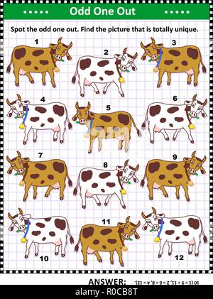 IQ training visual puzzle with milk cows on the pasture (suitable both for kids and adults): Spot the odd one out. Find the unique picture. - Stock Image