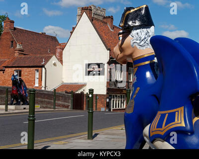 GoGoHoratio, one of the 84 Art Sculptures in the of  Go Go Dragons Trail, at Fye bridge in Norwich, Norfolk, England, - Stock Image