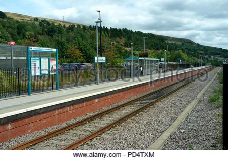 Ebbw Vale Town / Tref Glyn Ebwy - the town's railway station. Ebbw Vale, Blaenau Gwent, south Wales, UK. - Stock Image