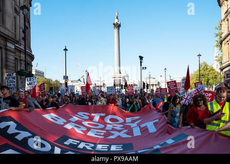London, UK. 20th October 2018. The People's Vote March for the Future. Marching through Central London to Parliament Square and demanding a Peoples Vote on any final Brexit deal. Organised by the Peoples Vote Campaign, supported by Open Britain, the European Movement UK, Britain for Europe, Scientists for EU, Healthier In, Our Future Our Choice, For Our Future's Sake, Wales For Europe & InFacts. Credit: Stephen Bell/Alamy Live News - Stock Image