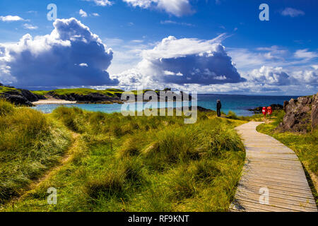 Spectacular Sandy Clachtoll Beach And Atlantic Coast Near Lochinver In Scotland - Stock Image