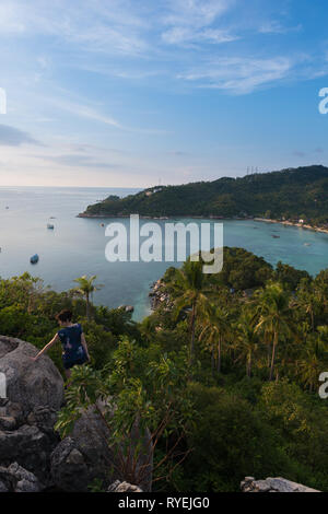 Ko Tao island view from the high rocky hill - Stock Image