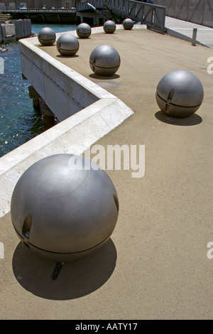 Balls on the quayside in Wellington New Zealand - Stock Image