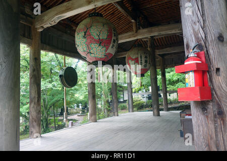 Modern fire extinguisher installed on historic first temple of the Ueno District, Honshu, Japan. No PR - Stock Image