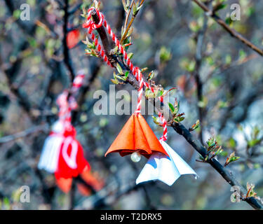 Mărțișor a romanian and moldovian talisman used as a symbol of the coming spring. - Stock Image