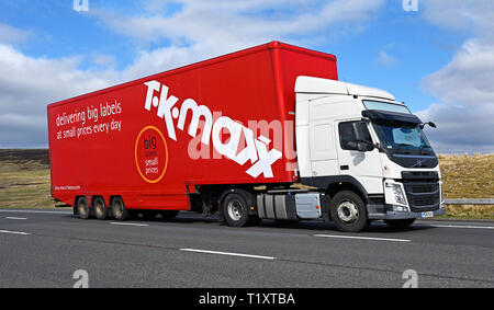 TK MAXX delivering big labels at small prices every day HGV. M6 Motorway, Southbound, Shap, Cumbria, England, United Kingdom, Europe. - Stock Image