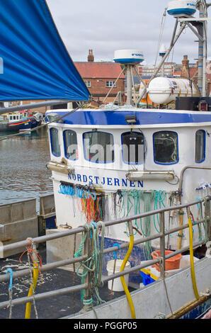 Fishing Boat Scarborough Harbour UK Yorkshire Coast - Stock Image