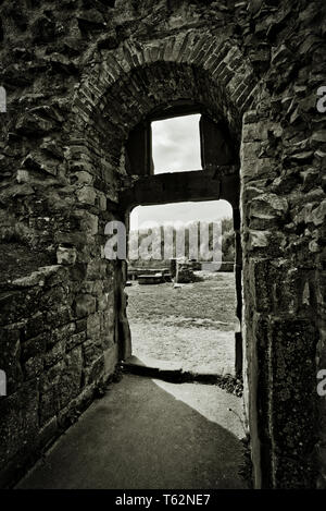Castle Ruins In Dramatic Tonality - Stock Image