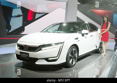 Greater Noida, India. 14th February 2018. Honda Clarity Fuel Cell vehicle is on display at Auto Expo 2018 in Greater - Stock Image