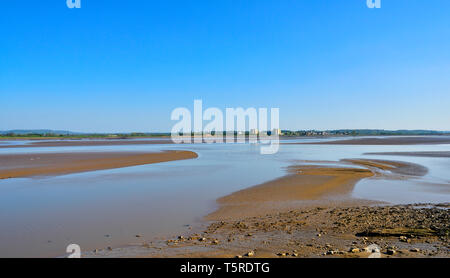 River Severn estuary, sandbanks at low tide, looking from near Lydney down river - Stock Image