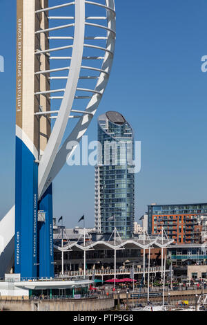 The Emirates Spinnaker Tower, a 170m (560 ft) observation tower in Portsmouth, England. It is the centrepiece of the redevelopment of Portsmouth Harbo - Stock Image