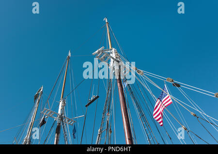 Detail  of masts and rigging,S/V Denis Sullivan, Milwaukee, WI Discovery World schooner - Stock Image