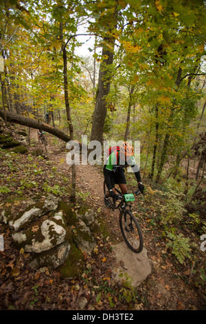 A mountain biker rides along a forest trail system at Blowing Springs Park in Bella Vista, Arkansas. - Stock Image