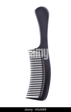 Black comb isolated on a white background - Stock Image