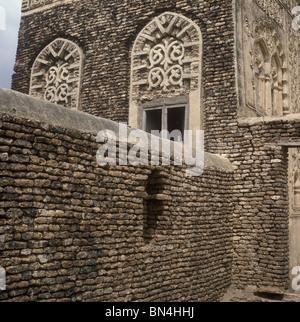 Traditional brickwork Zabid Yemen - Stock Image