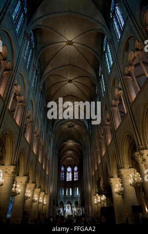 Interior of Cathedrale Notre Dame Paris, Ile de Paris, France Europe - Stock Image
