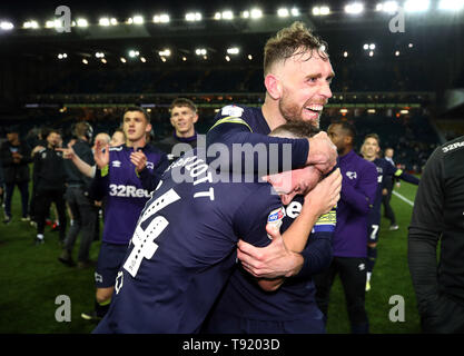 Derby County's Jack Marriott (left) and Richard Keogh celebrate victory after the Sky Bet Championship Play-Off, Semi Final, Second Leg match at Elland Road, Leeds. - Stock Image