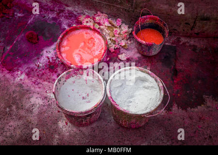 Abstract bucket of colors spill on floor. - Stock Image