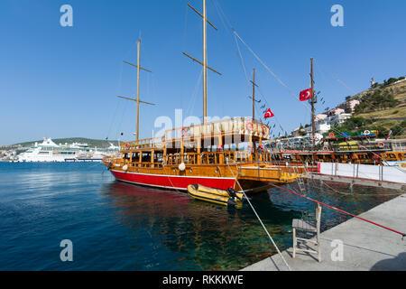 KUSADASI, TURKEY - MAY 23, 2015: Sightseeng tourist boats at Port of Kusadasi, Turkey. - Stock Image