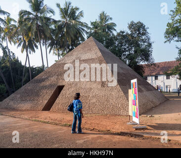 The Pyramid of Exiled Poets by Ales Steger at Kochi-Muziris Biennale in India - Stock Image