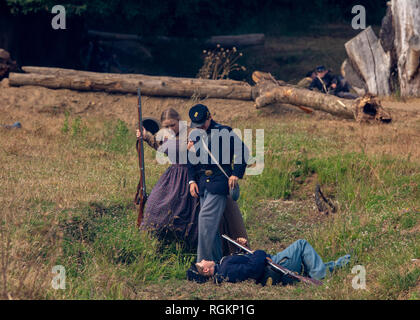 Duncan Mills, CA - July 14, 2018: Re-enactors at the Northern California's Civil war reenactment. This event is one of the largest on the West Coast a - Stock Image