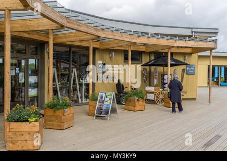 The Nene Wetlands Visitor Centre on the edge of the new Rushden Lakes retail development; Northamptonshire, UK - Stock Image