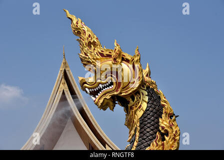 Wat Thamayan - one of the giant nagas of this stunningly beautiful modern temple in Central Thailand - Stock Image