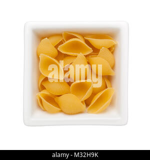 Uncooked conchiglie pasta in a square bowl isolated on white background; - Stock Image
