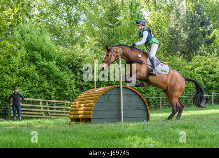 Rockingham Castle grounds, Corby, England. Saturday 20th May 2017. Jenny Levett and her horse Ballymore Rich Cat - Stock Image