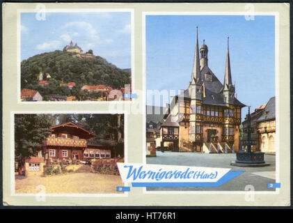 GERMANY - CIRCA 1968: A postcard printed in Germany, shows a Wernigerode Castle, Town hall and the restaurant 'Christianental', - Stock Image