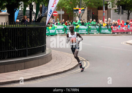 Daniel Wanjiri (KEN), competing in the Elite Men's 2019 London Marathon.  Daniel finished in 11th place, in a time of  02:08:40 - Stock Image