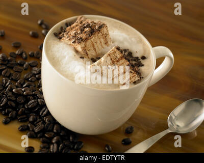 Coffee Latte with marshmallow - Stock Image
