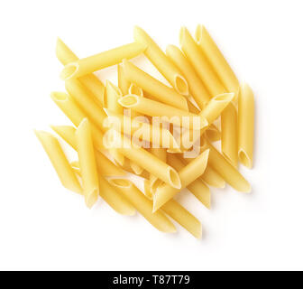 Top view of uncooked penne lisce pasta isolated on white - Stock Image