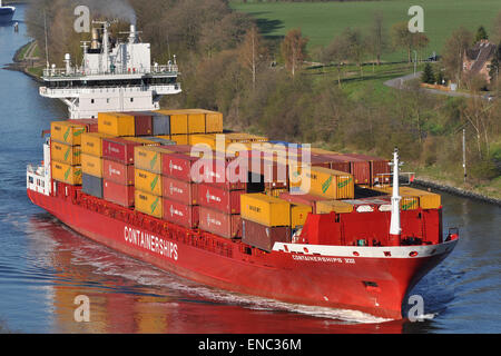 Containerships VIII passing the Kiel Canal eastbound. - Stock Image