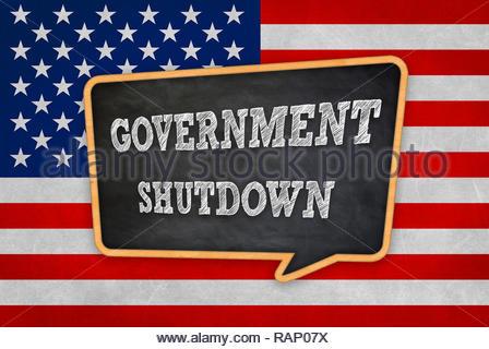 Government Shutdown - chalkboard message warning - Stock Image