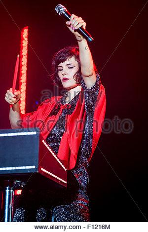 The Dø performing live - singer Olivia Merilahti - Stock Image