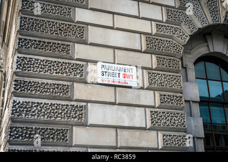 parliament street,sw1,street sign,london,england,uk - Stock Image