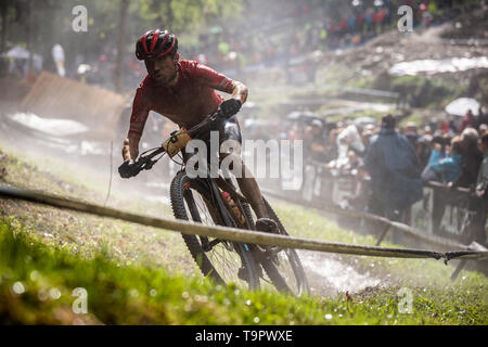 Mathias Fluckiger of Switzerland competes at the XC men race of UCI MTB World Cup in Albstadt, Germany, May 19, 2019. (CTK Photo/Michal Cerveny) - Stock Image