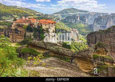 Monastery from Meteora-Greece, beautiful landscape with tall rocks with buildings on them - Stock Image