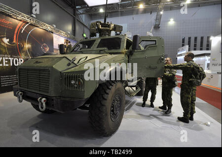 Brno, Czech Republic. 29th May, 2019. Czech Army's Zetor Gerlach armoured fighting vehicle was presented at the international trade fair of defence and security technology IDET, trade fair of security technology and services ISET and trade fair of firefighting technology PYROS in Brno, Czech Republic, May 29, 2019. Credit: Igor Zehl/CTK Photo/Alamy Live News - Stock Image