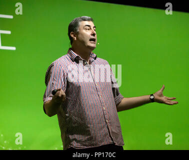 Mark Williams telling the billion year-scale story of how skeletons evolved on Earth, on the Earth Stage, at New Scientist Live - Stock Image