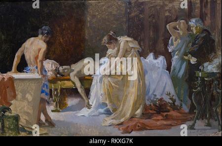 Cordoba, Spain - Dec 12th, 2018: Death scene of poet Lucan obliged by Nero commit suicide by José Garnelo Alda. Fine Arts Córdoba Museum - Stock Image