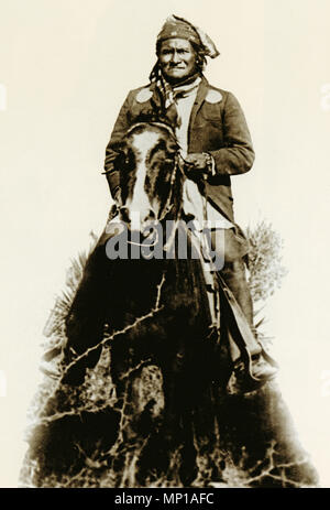 Geronimo, photo of the Apache chief by Camillus S Fly just before surrender to the US army cavalry in 1886 - Stock Image