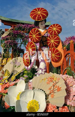 Rose Parade Float Tournament Volunteers' Trophy 'Festival of Flowers' City of Torrance Pasadena CA Los - Stock Image