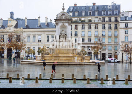 Paris (France) -  Place Saint-Sulpice and the Fontaine des Quatre Points Cardinaux - Stock Image