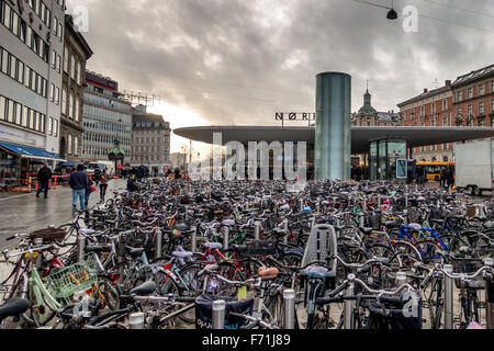 Bicycles parked at a Metro station in Copenhagen, Denmartk - Stock Image