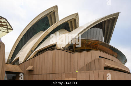 Detail of the 'shell' precast concrete architecture of Sydney Opera House, Sydney, New South Wales, Australia. - Stock Image